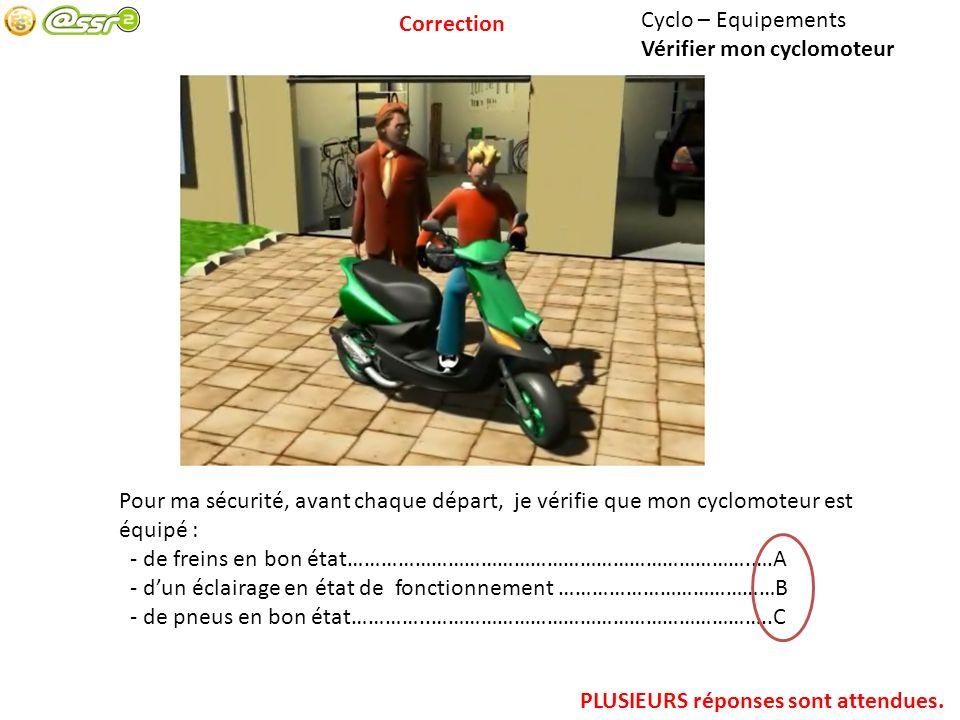 Cyclo – Equipements Vérifier mon cyclomoteur Pour ma sécurité, avant chaque départ, je vérifie que mon cyclomoteur est équipé : - de freins en bon éta