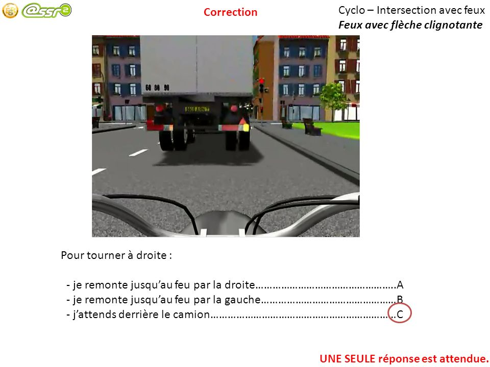Cyclo – Intersection avec feux Feux avec flèche clignotante Pour tourner à droite : - je remonte jusquau feu par la droite…………………………………………..A - je rem