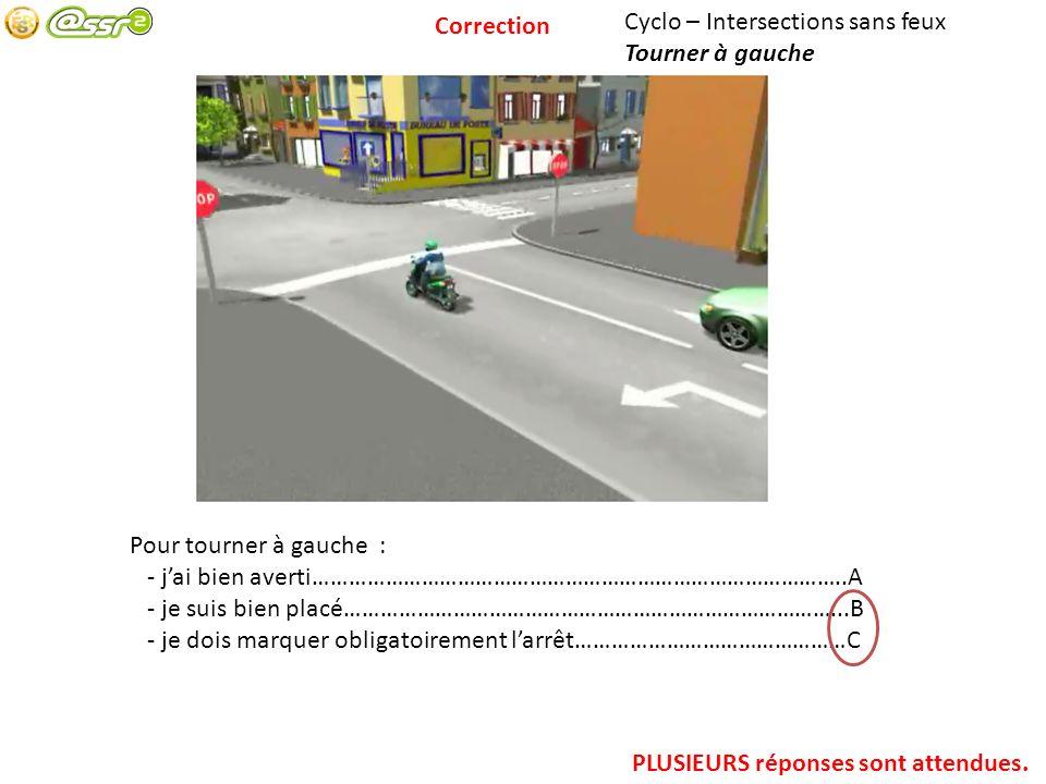 Cyclo – Intersections sans feux Tourner à gauche Pour tourner à gauche : - jai bien averti……………………………………………………………………………..A - je suis bien placé…………………