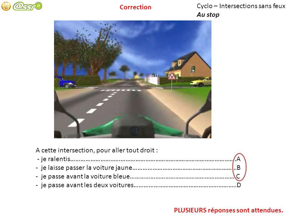 Cyclo – Intersections sans feux Au stop A cette intersection, pour aller tout droit : - je ralentis………………………...…………………………………………………………….A - je laisse p
