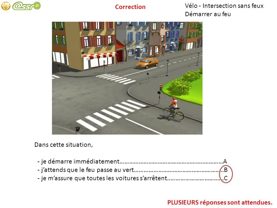 Cyclo – Dépassement Dépasser à une intersection Pour aller tout droit : - je suis bien placé…………………………………………..…………………………..A - je dépasse le bus par la droite……………………………………………………B - je dépasse le bus par la gauche………………………………………………….C - jattends que le bus ait tourné……………………………………………………D PLUSIEURS réponses sont attendues.