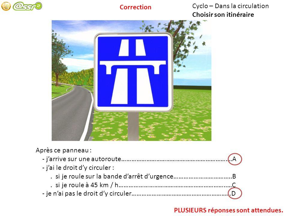 Cyclo – Dans la circulation Choisir son itinéraire Après ce panneau : - jarrive sur une autoroute………………………………………………………….A - jai le droit dy circuler :