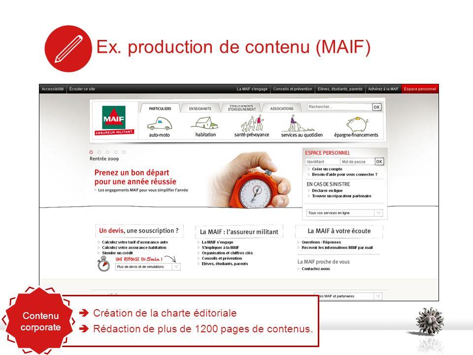 Ex. production de contenu (MAIF) Création de la charte éditoriale Rédaction de plus de 1200 pages de contenus. Contenu corporate