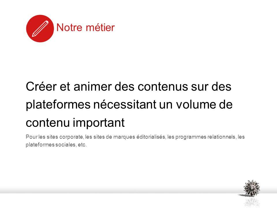 Notre approche Analyse de contenus existant Rédaction de chartes éditoriales Définition dun calendrier danimation éditorial Industrialisation de la production de contenu