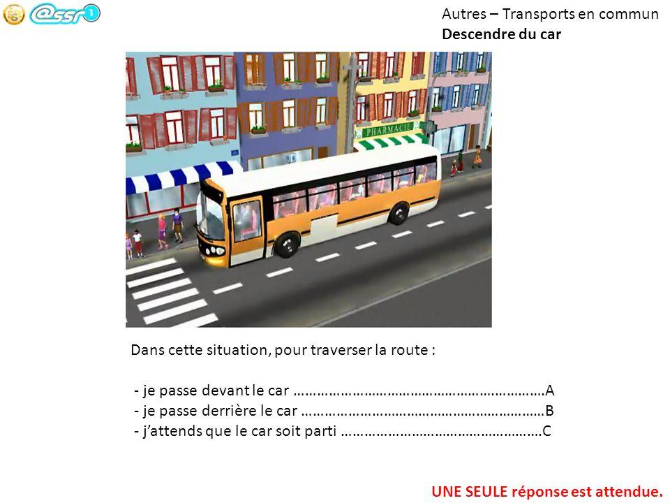 Autres – Transports en commun Descendre du car Dans cette situation, pour traverser la route : - je passe devant le car …………………………………………….………….A - je