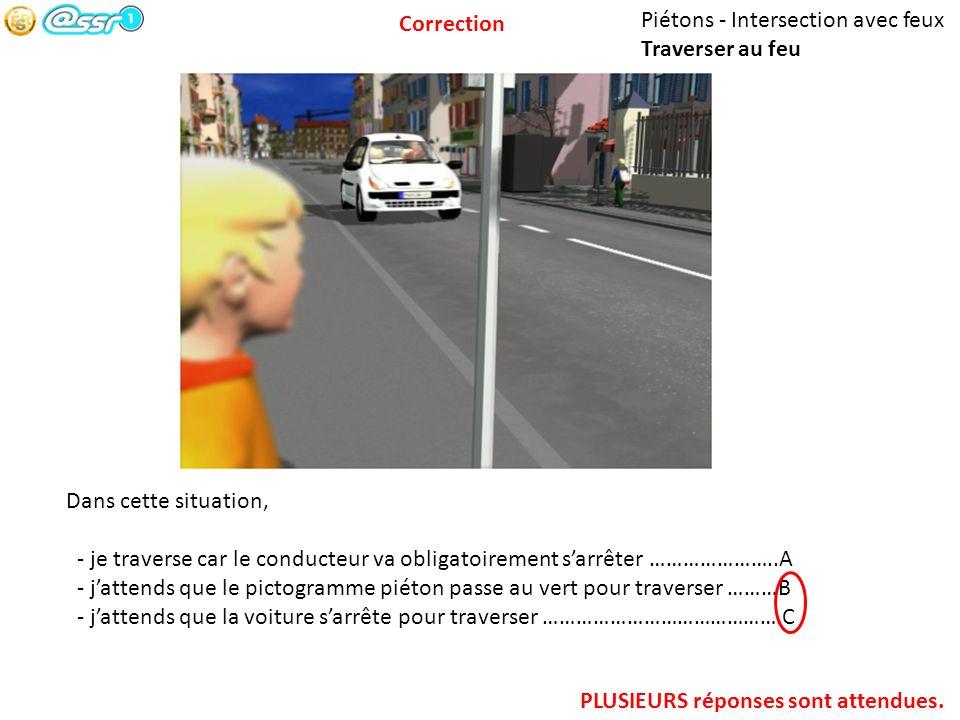 Piétons - Intersection avec feux Traverser au feu Dans cette situation, - je traverse car le conducteur va obligatoirement sarrêter …………………..A - jatte