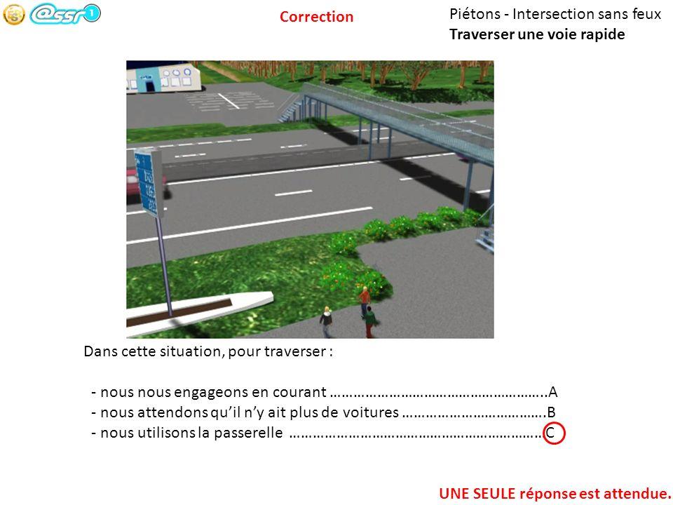 Piétons - Intersection sans feux Traverser une voie rapide Dans cette situation, pour traverser : - nous nous engageons en courant ……………………………………………….