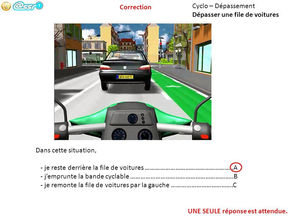 Cyclo – Dépassement Dépasser une file de voitures Dans cette situation, - je reste derrière la file de voitures ……………………………………………..A - jemprunte la ba