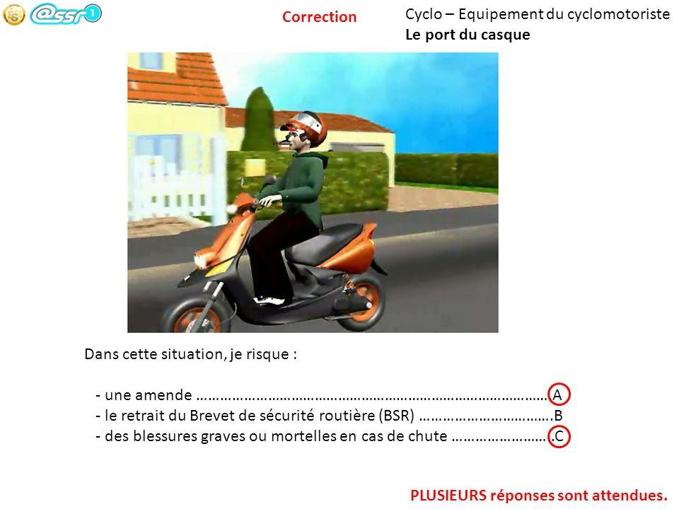 Cyclo – Equipement du cyclomotoriste Le port du casque Dans cette situation, je risque : - une amende ……………………………………………………………………………….A - le retrait du