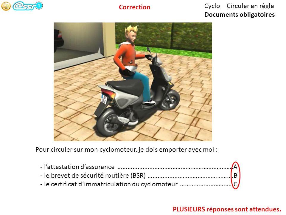 Cyclo – Circuler en règle Documents obligatoires Pour circuler sur mon cyclomoteur, je dois emporter avec moi : - lattestation dassurance ………………………………