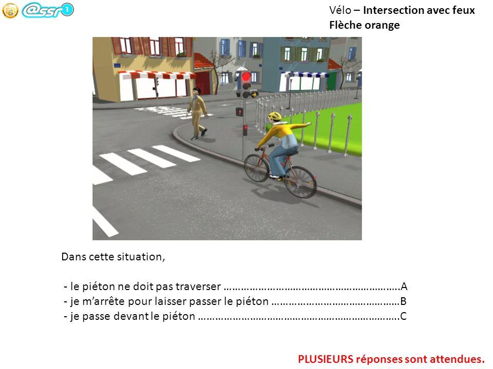 Vélo – Intersection avec feux Flèche orange Dans cette situation, - le piéton ne doit pas traverser ……………………………………………………..A - je marrête pour laisser