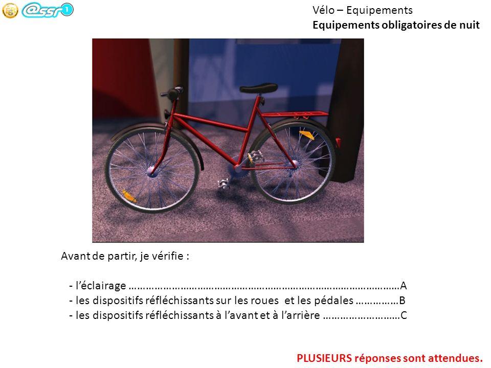 Vélo – Equipements Equipements obligatoires de nuit Avant de partir, je vérifie : - léclairage ……………………………………………………………………………………A - les dispositifs réf