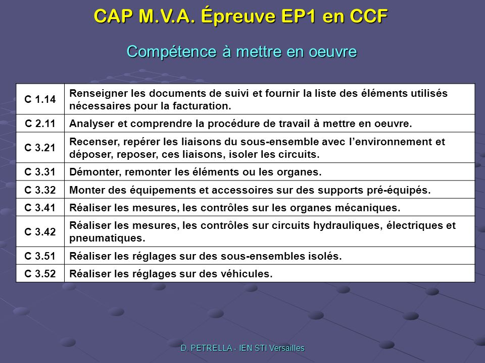CAP M.V.A. Épreuve EP1 en CCF D. PETRELLA - IEN STI Versailles Compétence à mettre en oeuvre C 1.14 Renseigner les documents de suivi et fournir la li