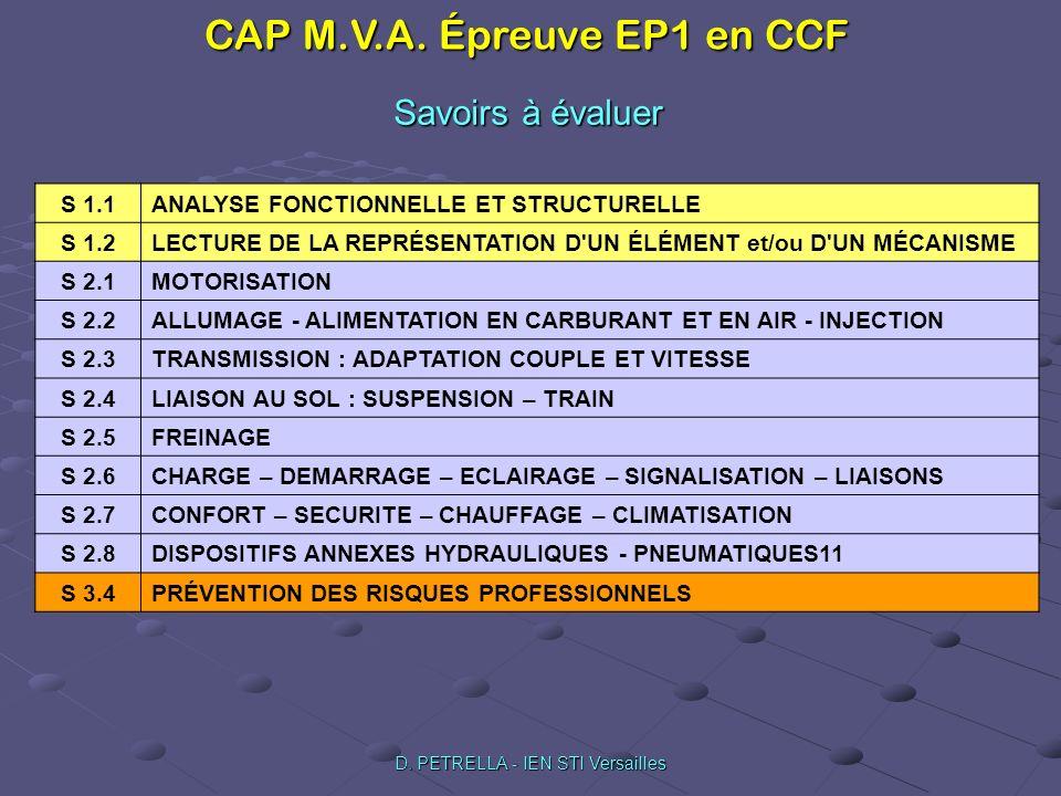 CAP M.V.A. Épreuve EP1 en CCF D. PETRELLA - IEN STI Versailles Savoirs à évaluer S 1.1 ANALYSE FONCTIONNELLE ET STRUCTURELLE S 1.2 LECTURE DE LA REPRÉ