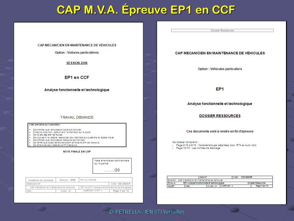 CAP M.V.A. Épreuve EP1 en CCF D. PETRELLA - IEN STI Versailles