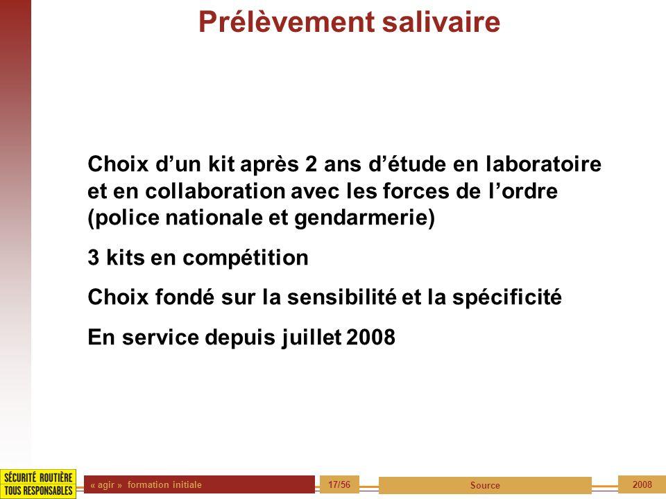 « agir » formation initiale 17/56 Source 2008 Prélèvement salivaire Choix dun kit après 2 ans détude en laboratoire et en collaboration avec les force