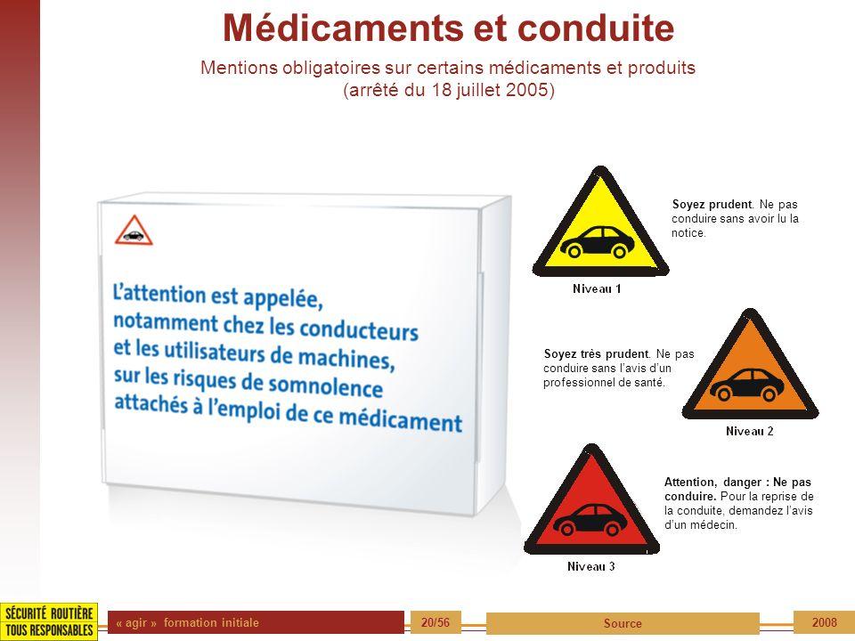 « agir » formation initiale 20/56 Source 2008 Soyez prudent. Ne pas conduire sans avoir lu la notice. Soyez très prudent. Ne pas conduire sans lavis d