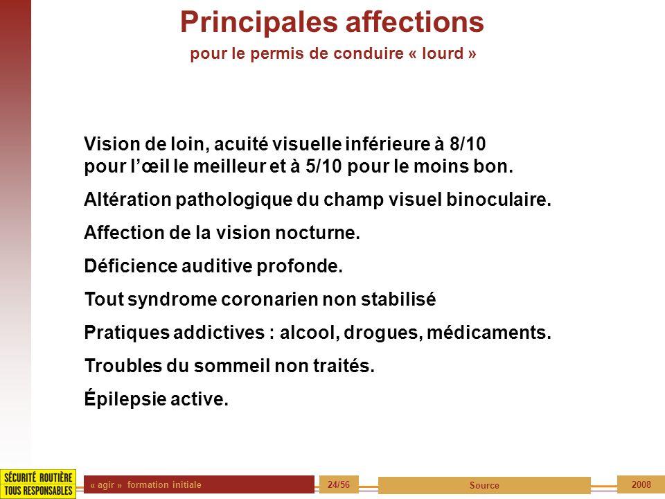 « agir » formation initiale 24/56 Source 2008 Principales affections pour le permis de conduire « lourd » Vision de loin, acuité visuelle inférieure à