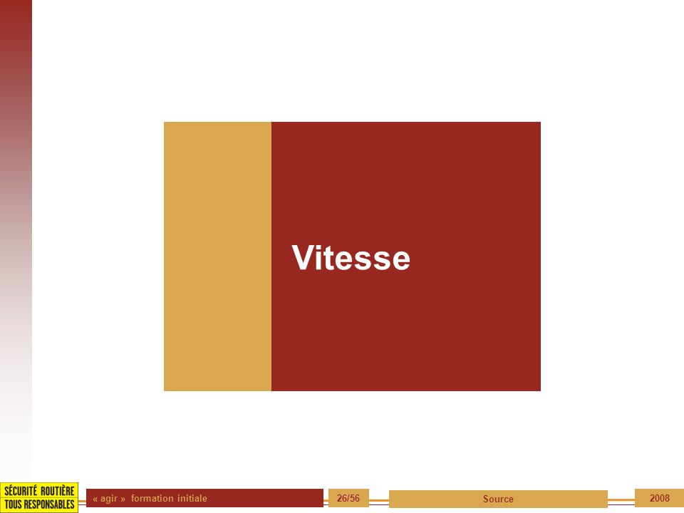 « agir » formation initiale 26/56 Source 2008 Vitesse