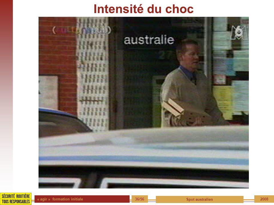 « agir » formation initiale 36/56 Spot australien 2008 Intensité du choc