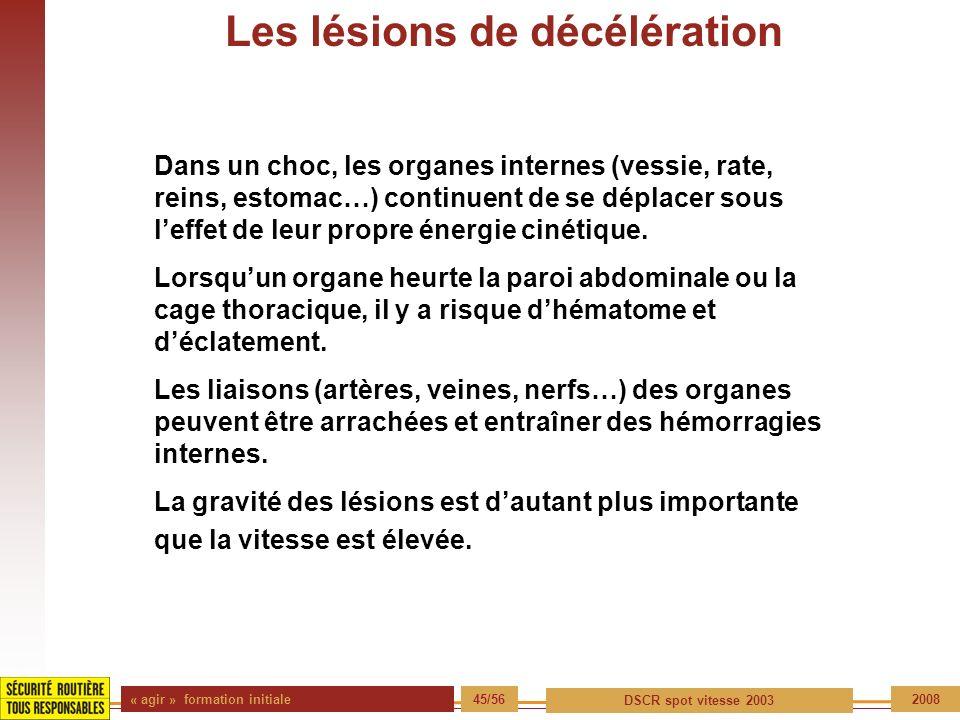 « agir » formation initiale 45/56 DSCR spot vitesse 2003 2008 Les lésions de décélération Dans un choc, les organes internes (vessie, rate, reins, est