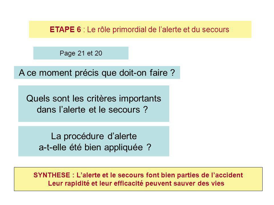 ETAPE 6 : Le rôle primordial de lalerte et du secours Quels sont les critères importants dans lalerte et le secours ? SYNTHESE : Lalerte et le secours