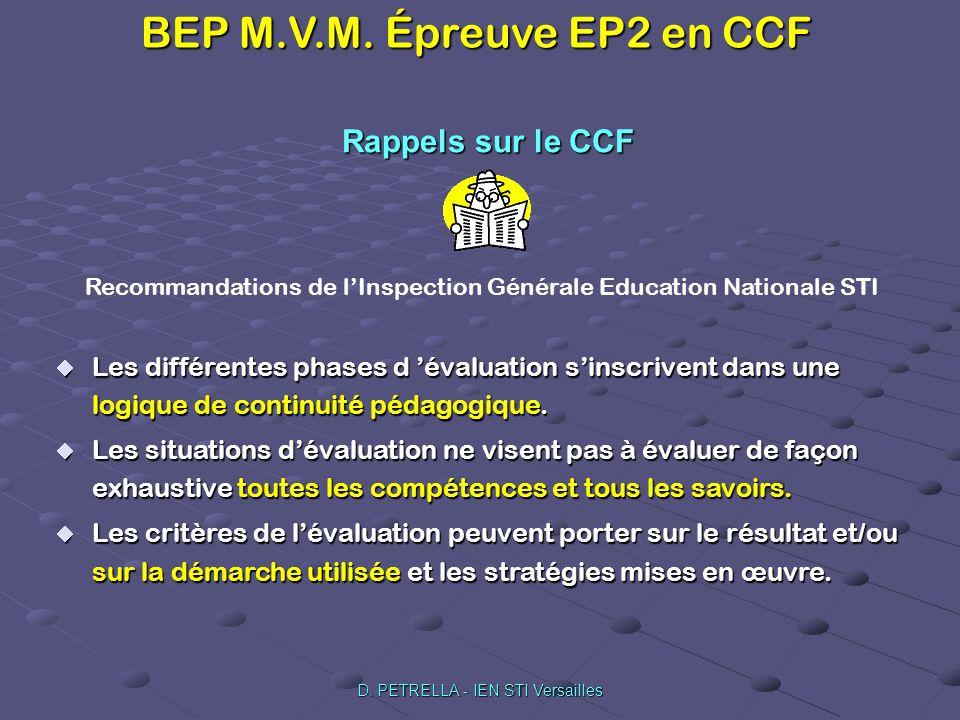 BEP M.V.M. Épreuve EP2 en CCF D. PETRELLA - IEN STI Versailles Les différentes phases d évaluation sinscrivent dans une logique de continuité pédagogi