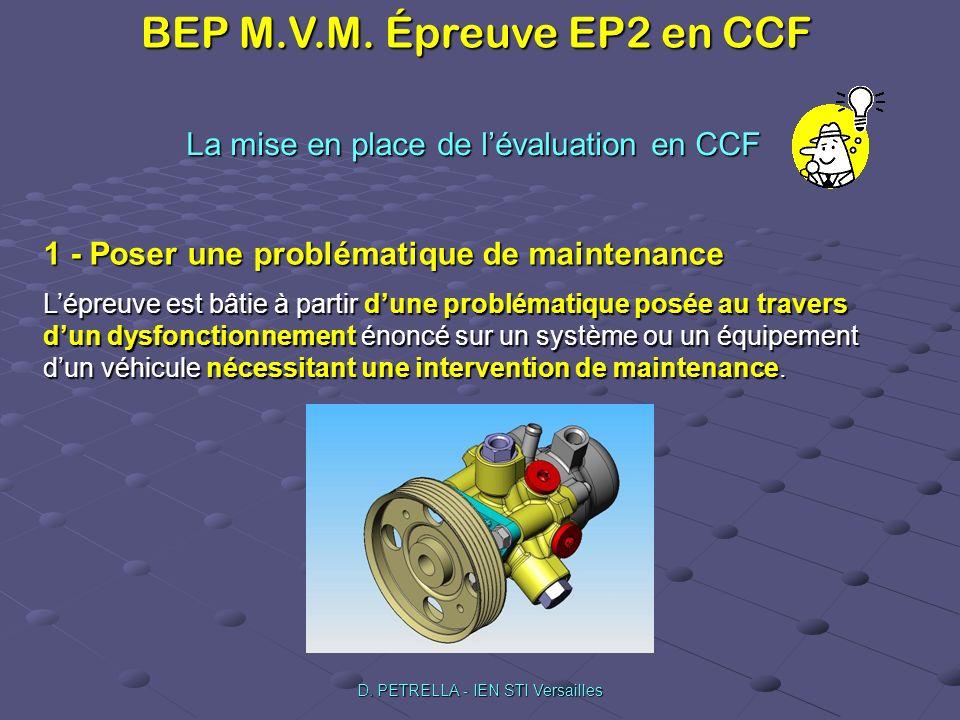 BEP M.V.M. Épreuve EP2 en CCF D. PETRELLA - IEN STI Versailles La mise en place de lévaluation en CCF 1 - Poser une problématique de maintenance Lépre