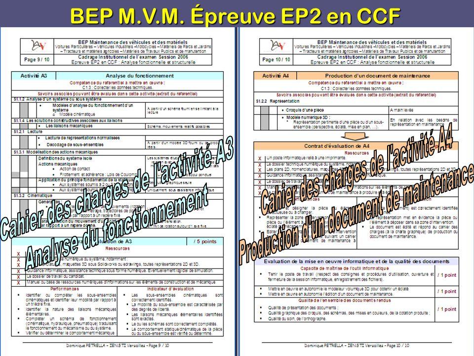 BEP M.V.M.Épreuve EP2 en CCF D.