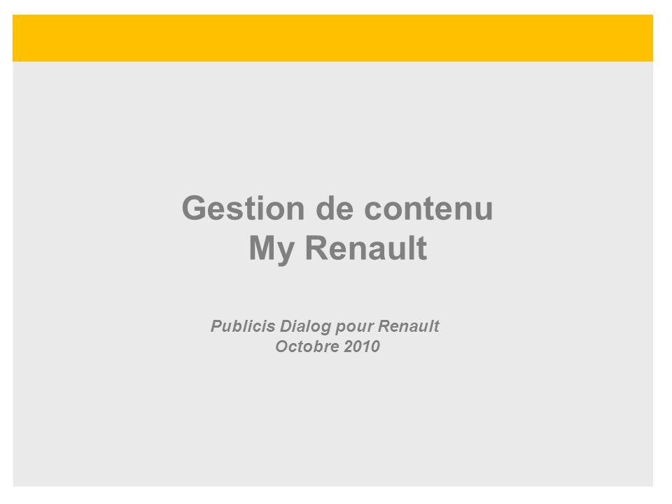Gestion de contenu My Renault Publicis Dialog pour Renault Octobre 2010