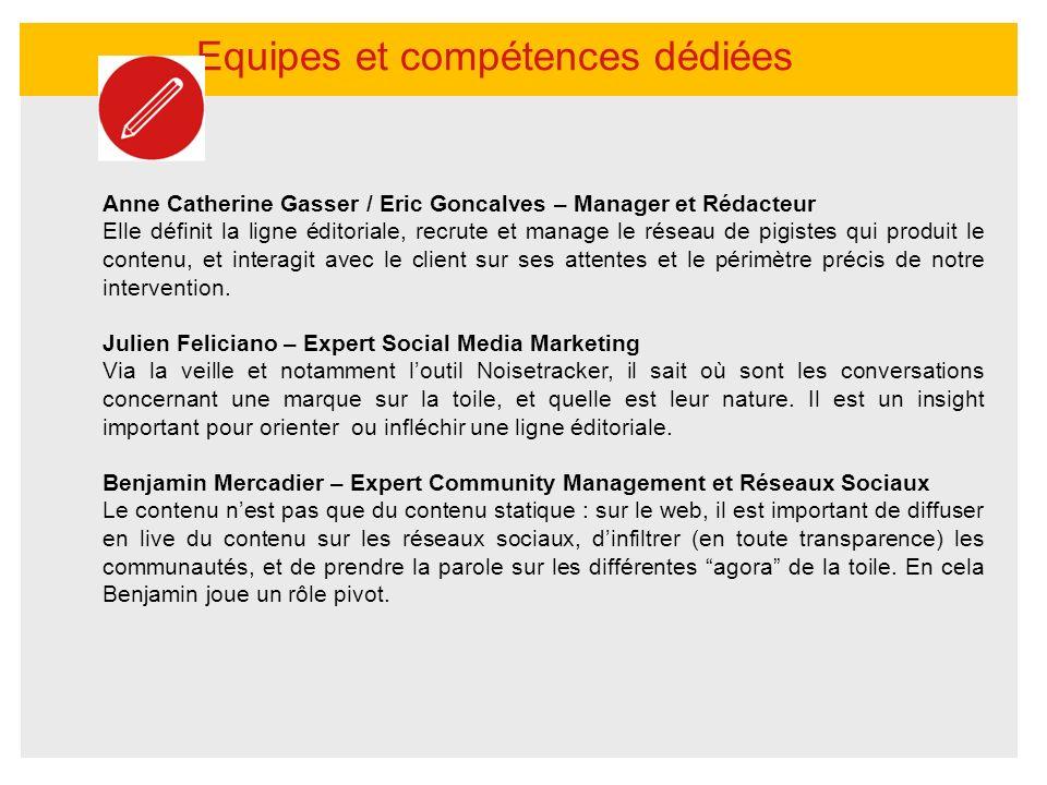 Equipes et compétences dédiées Anne Catherine Gasser / Eric Goncalves – Manager et Rédacteur Elle définit la ligne éditoriale, recrute et manage le ré