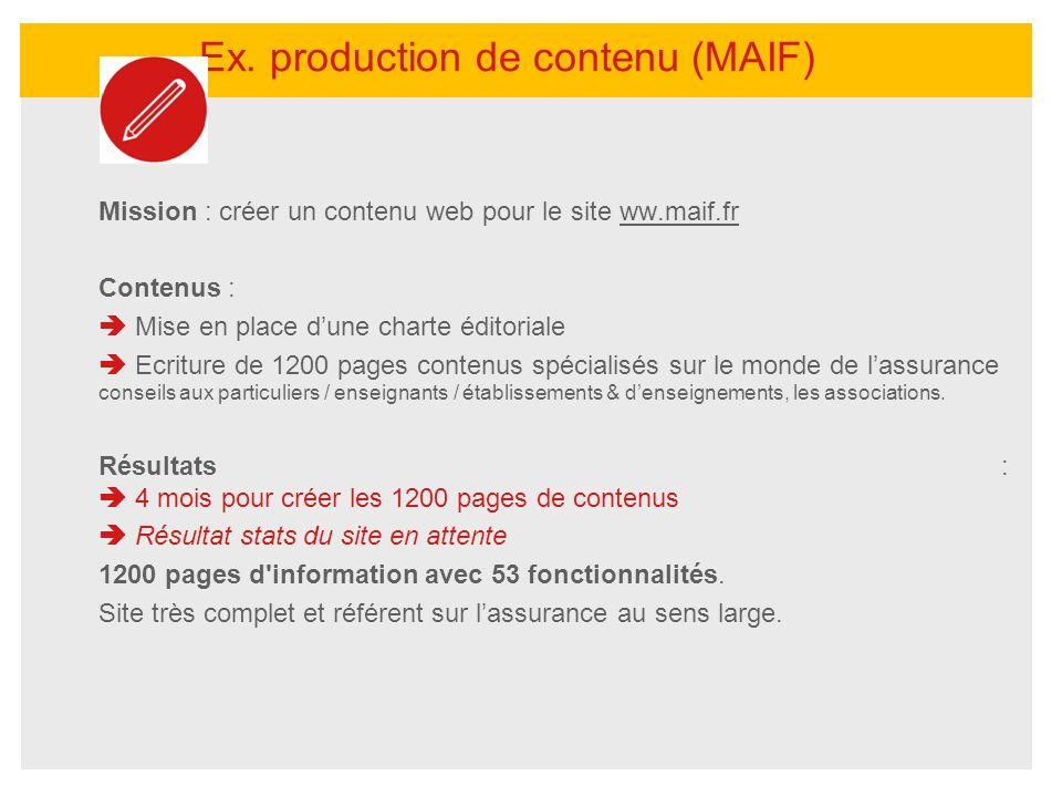 Mission : créer un contenu web pour le site ww.maif.frww.maif.fr Contenus : Mise en place dune charte éditoriale Ecriture de 1200 pages contenus spéci