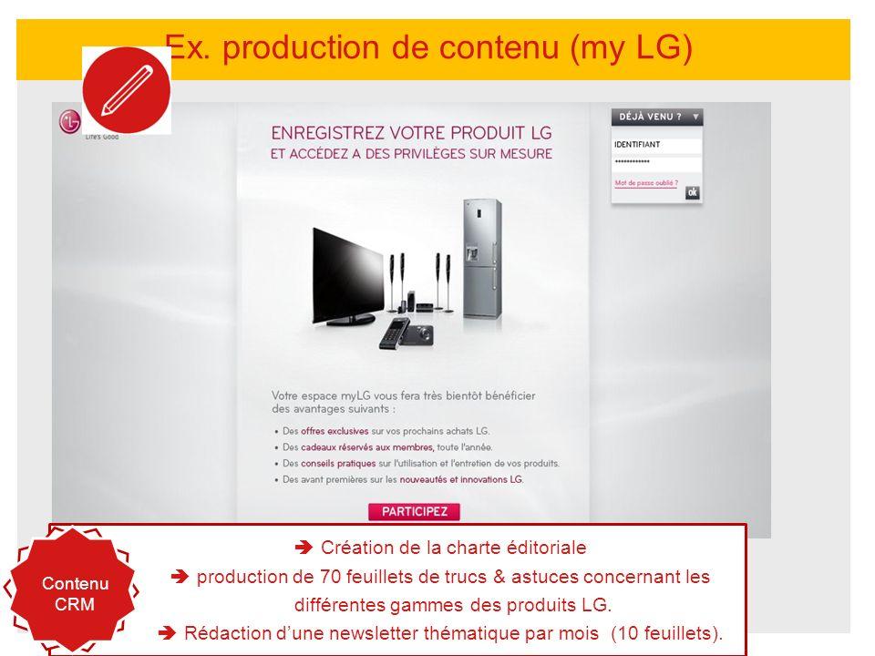 Ex. production de contenu (my LG) http://www.mylg.fr/ Création de la charte éditoriale production de 70 feuillets de trucs & astuces concernant les di