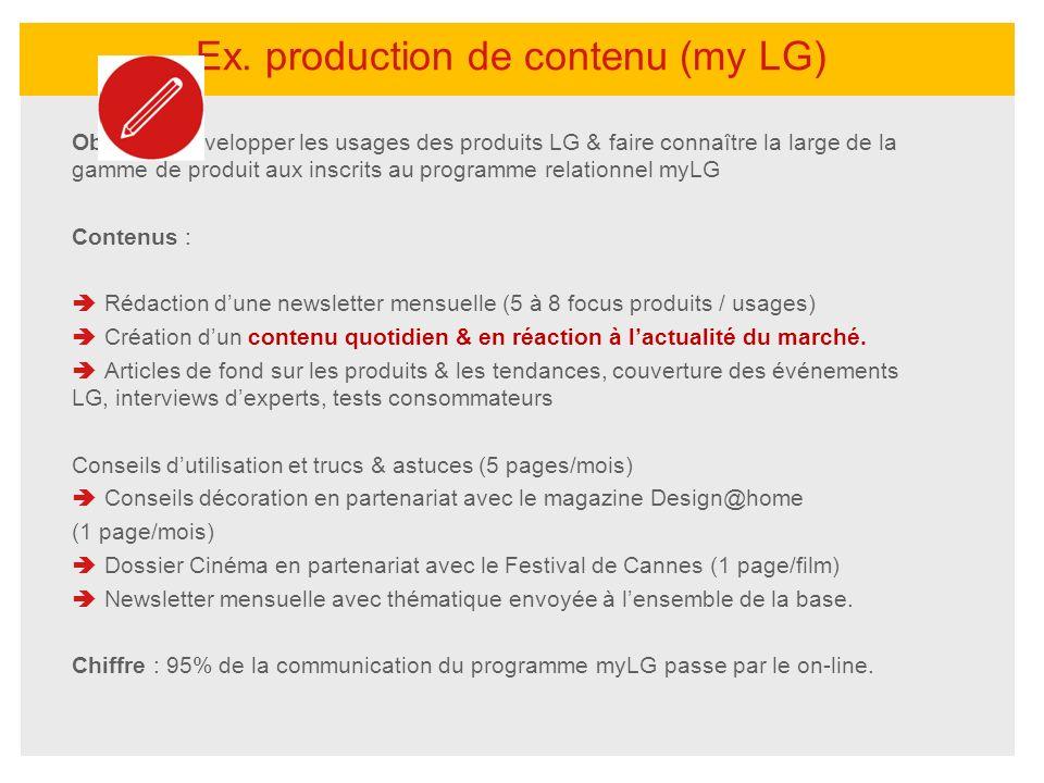 Objectif : développer les usages des produits LG & faire connaître la large de la gamme de produit aux inscrits au programme relationnel myLG Contenus