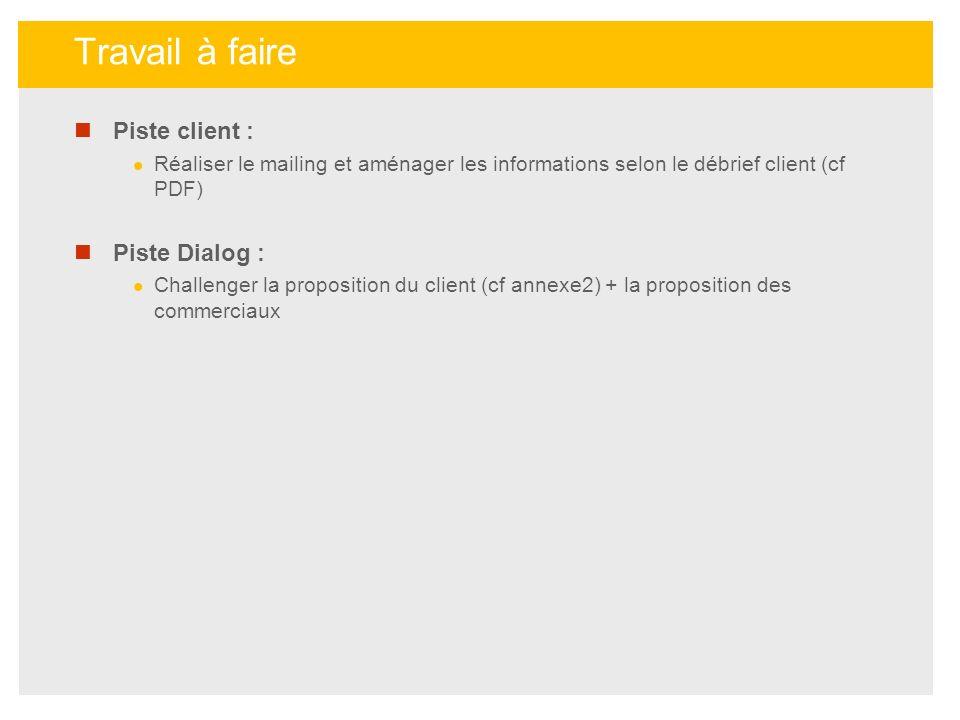 Piste client : Réaliser le mailing et aménager les informations selon le débrief client (cf PDF) Piste Dialog : Challenger la proposition du client (c