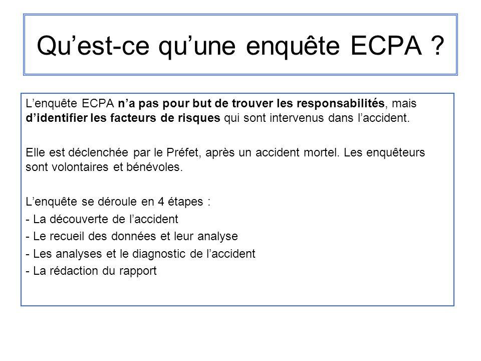Quest-ce quune enquête ECPA ? Lenquête ECPA na pas pour but de trouver les responsabilités, mais didentifier les facteurs de risques qui sont interven