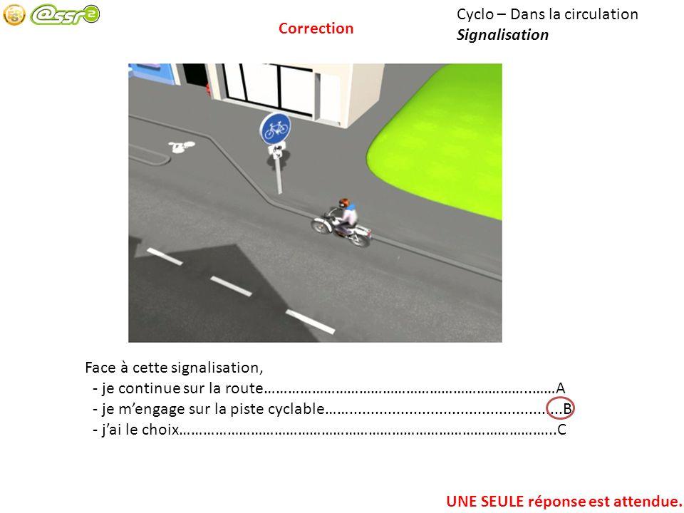 Cyclo – Dans la circulation Signalisation Face à cette signalisation, - je continue sur la route…………………………………………………………..……A - je mengage sur la piste cyclable……..................................................B - jai le choix…………………………………………………………………………………...C UNE SEULE réponse est attendue.
