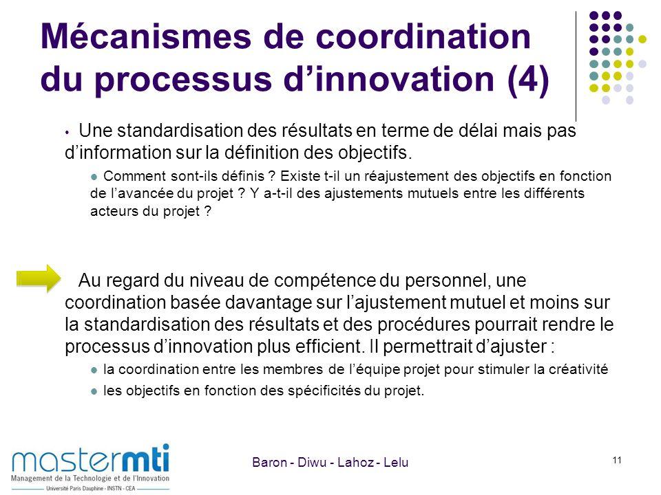 Mécanismes de coordination du processus dinnovation (4) Une standardisation des résultats en terme de délai mais pas dinformation sur la définition de