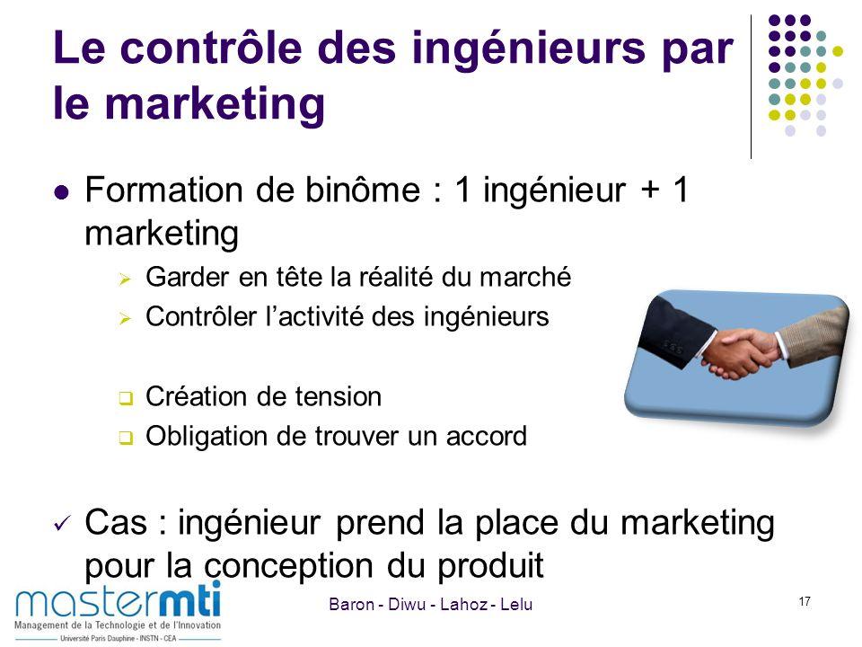Le contrôle des ingénieurs par le marketing Formation de binôme : 1 ingénieur + 1 marketing Garder en tête la réalité du marché Contrôler lactivité de