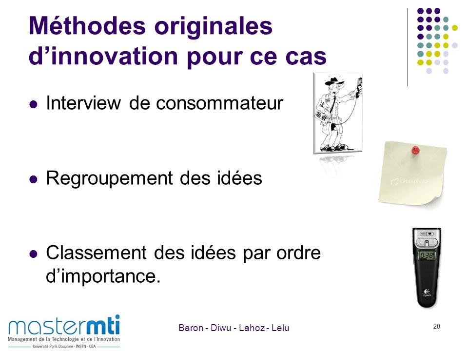 Méthodes originales dinnovation pour ce cas Interview de consommateur Regroupement des idées Classement des idées par ordre dimportance. 20 Baron - Di