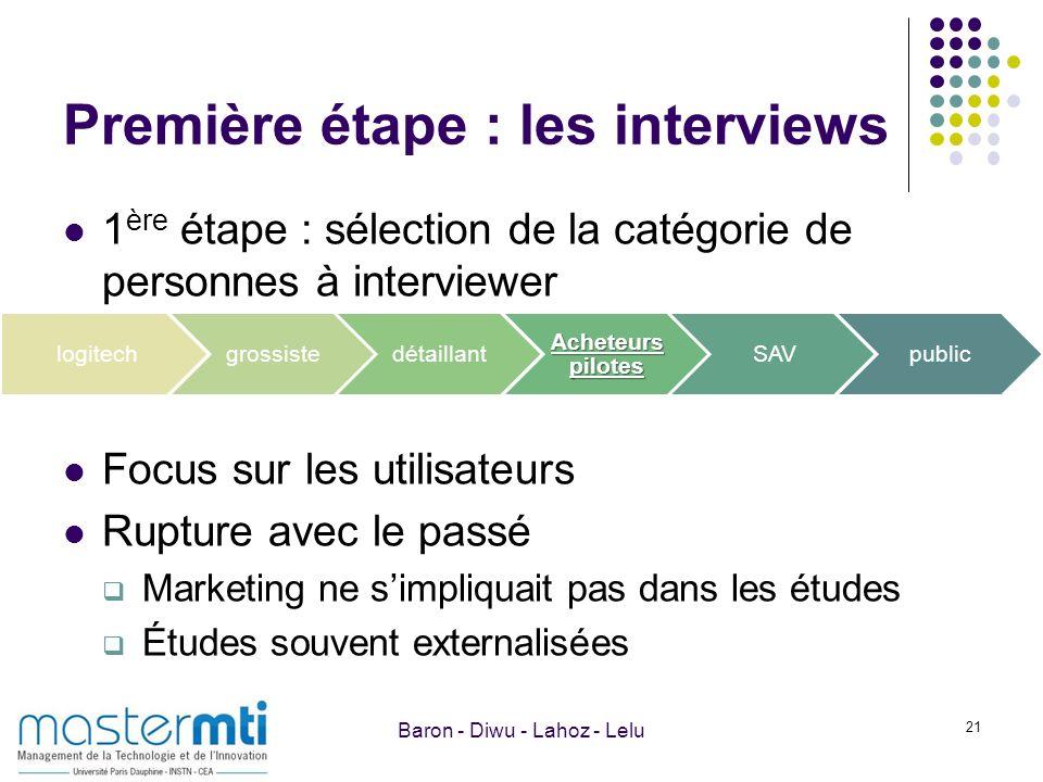 Première étape : les interviews 1 ère étape : sélection de la catégorie de personnes à interviewer Focus sur les utilisateurs Rupture avec le passé Ma