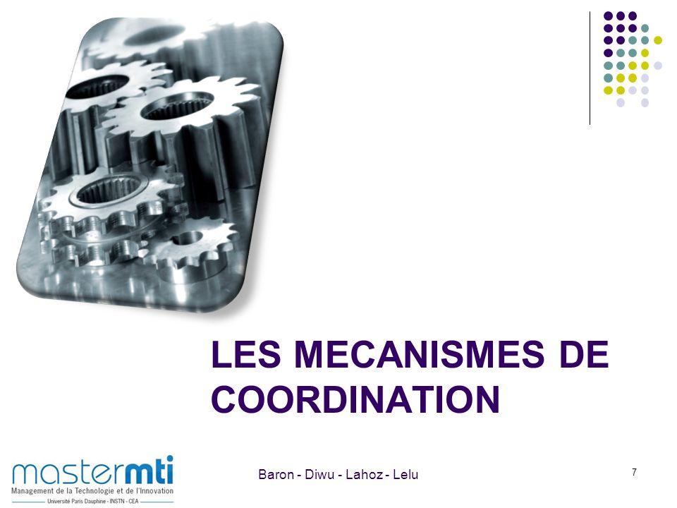 LES MECANISMES DE COORDINATION 7 Baron - Diwu - Lahoz - Lelu