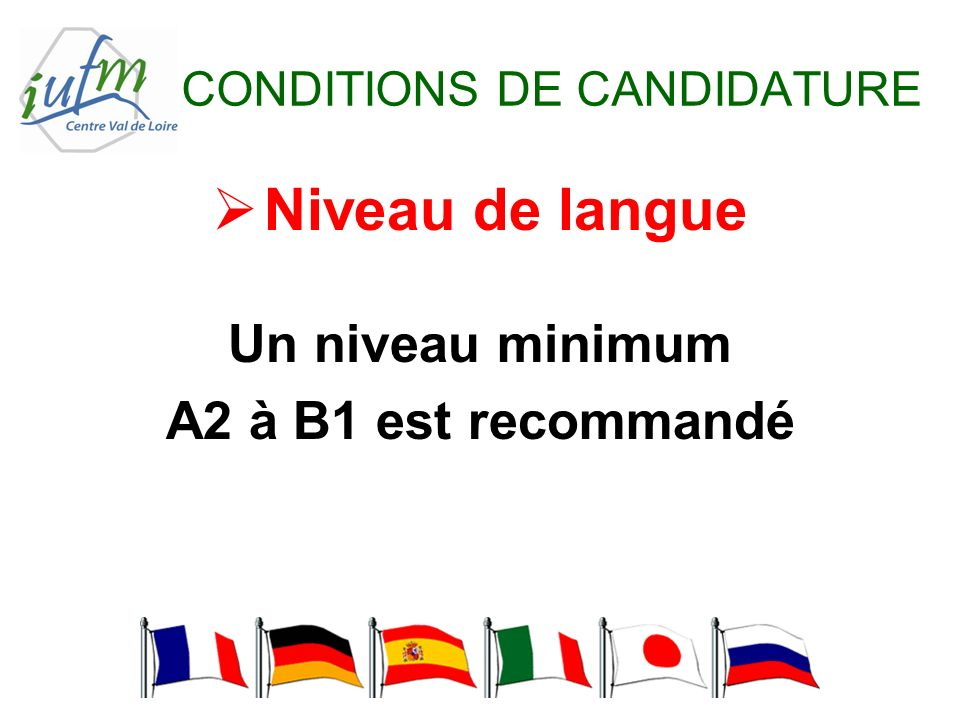 CONDITIONS DE CANDIDATURE Niveau de langue Un niveau minimum A2 à B1 est recommandé