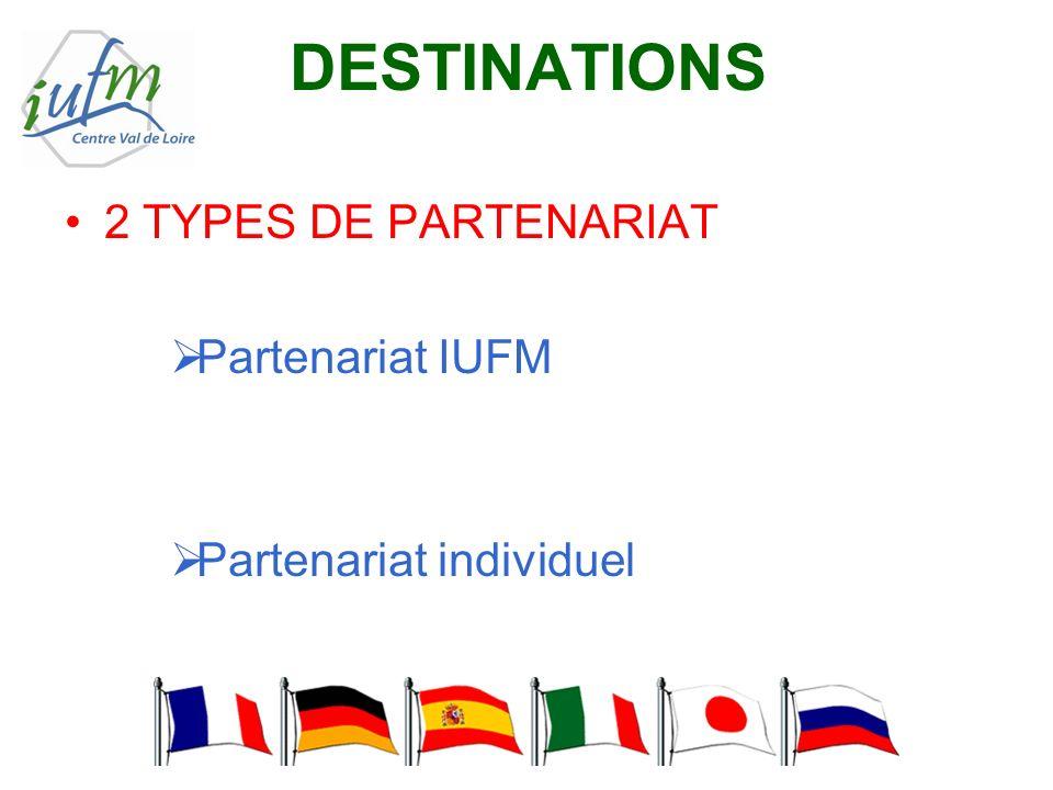 DESTINATIONS 2 TYPES DE PARTENARIAT Partenariat IUFM Partenariat individuel