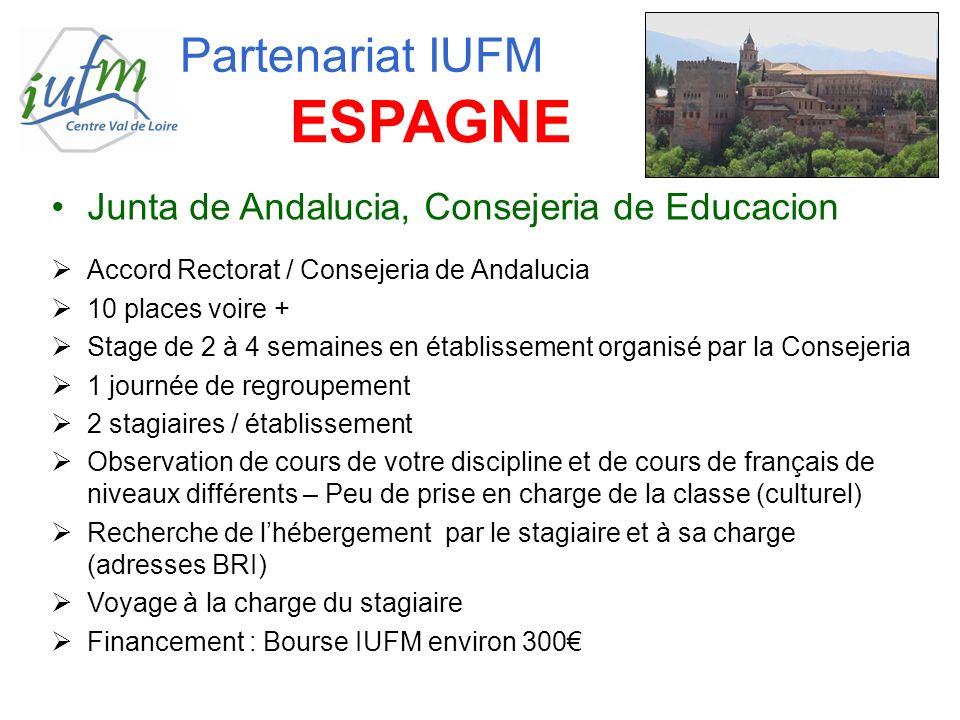 Junta de Andalucia, Consejeria de Educacion Accord Rectorat / Consejeria de Andalucia 10 places voire + Stage de 2 à 4 semaines en établissement organ