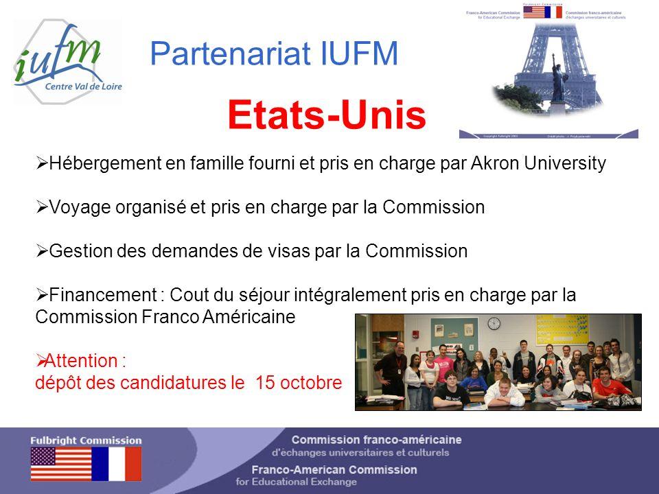 Partenariat IUFM Etats-Unis Hébergement en famille fourni et pris en charge par Akron University Voyage organisé et pris en charge par la Commission G