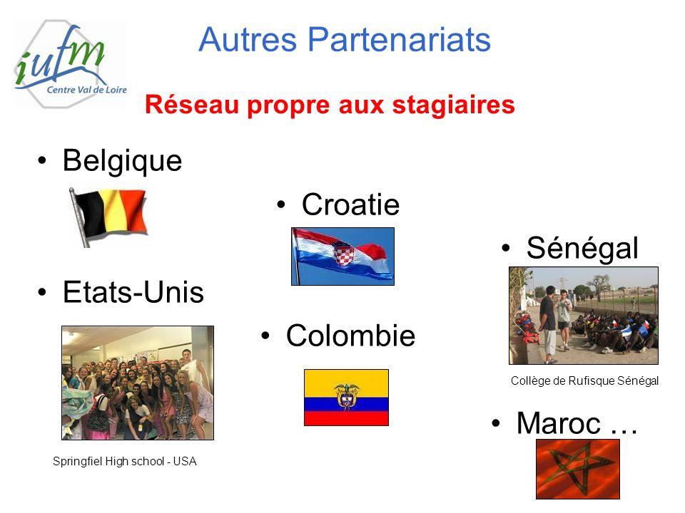 Belgique Croatie Sénégal Etats-Unis Colombie Maroc … Autres Partenariats Réseau propre aux stagiaires Springfiel High school - USA Collège de Rufisque