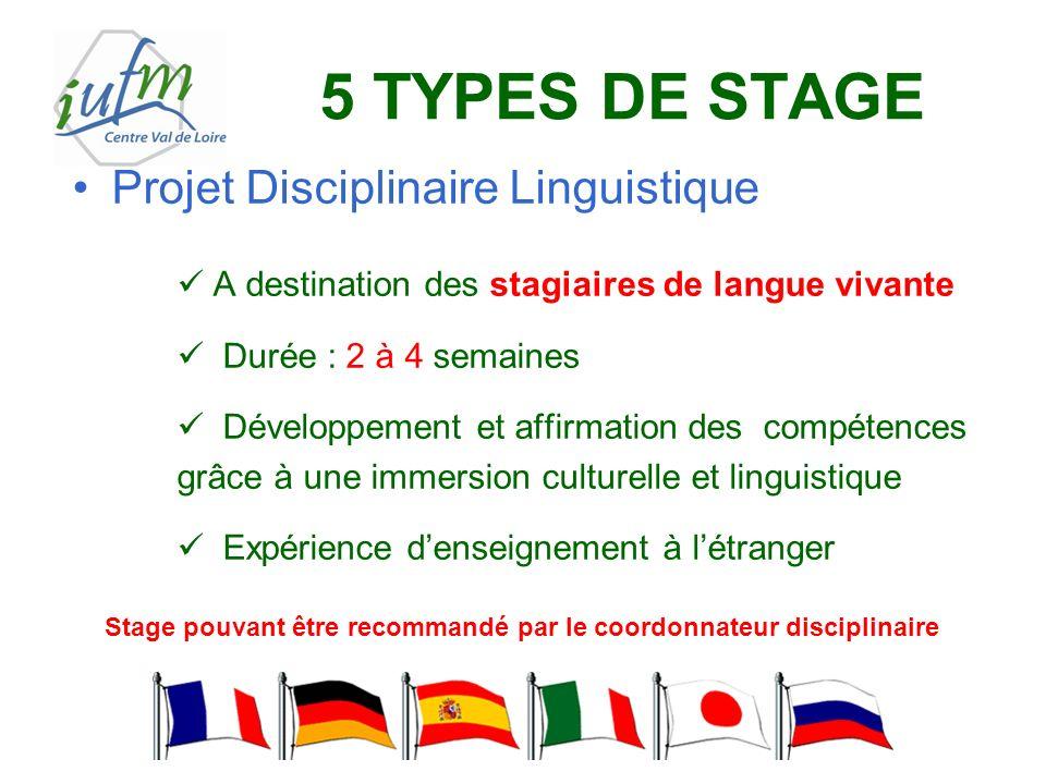 5 TYPES DE STAGE Projet Disciplinaire Linguistique A destination des stagiaires de langue vivante Durée : 2 à 4 semaines Développement et affirmation