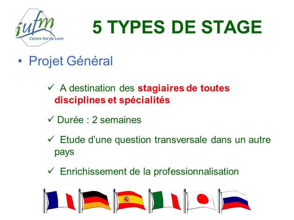 5 TYPES DE STAGE Projet Général A destination des stagiaires de toutes disciplines et spécialités Durée : 2 semaines Etude dune question transversale