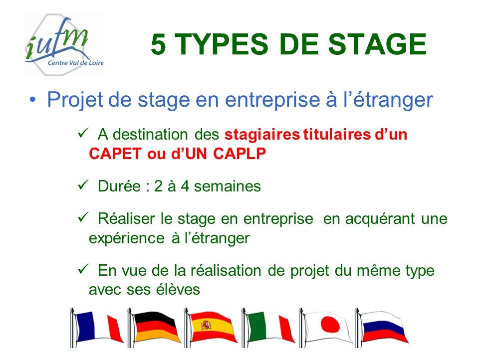 5 TYPES DE STAGE Projet de stage en entreprise à létranger A destination des stagiaires titulaires dun CAPET ou dUN CAPLP Durée : 2 à 4 semaines Réali